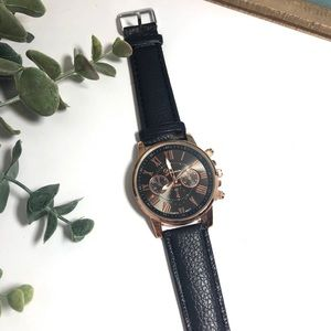 Black Faux Leather Gold Detail Statement Watch